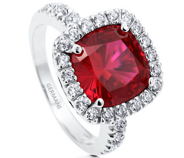 Halo Cushion Cut Natural Ruby Ring - Germani Jewellery