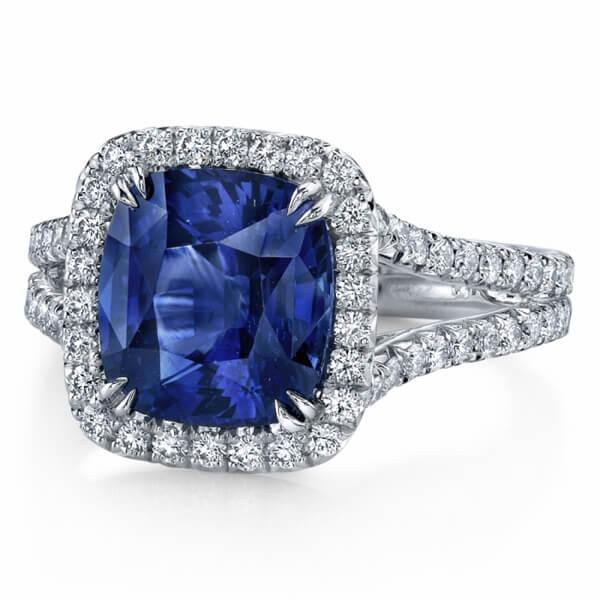 Halo Split Band Cushion Blue Sapphire Ring - Germani Jewellery