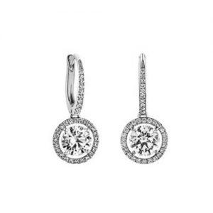 Diamond Drop Earrings -Classic Halo Design - Michel Germani