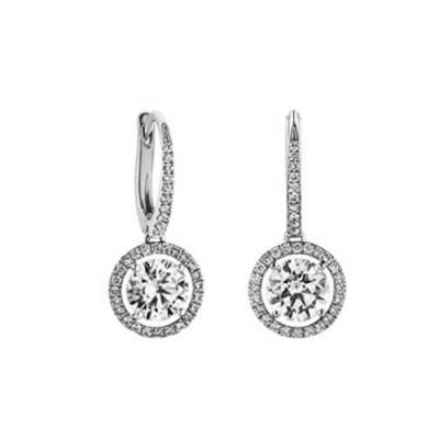 Diamond Drop Earrings -Classic Halo Design - Michel Germani