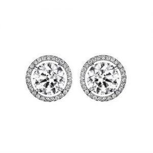 Diamond Stud Earrings - Classic Halo Design - Germani Jewellery