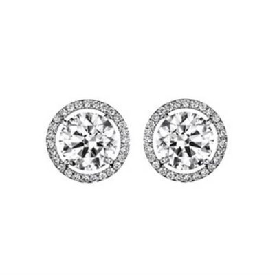 Diamond Stud Earrings - Classic Halo Design - Germani Jewellery