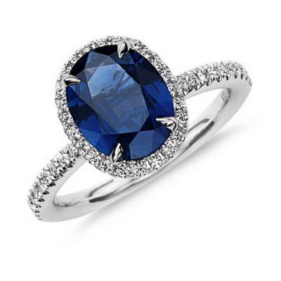 Halo Oval Shape Natural Blue Sapphire Ring - Germani Jewellery