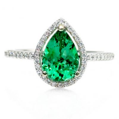 Pear Shape Natural Emerald Diamond Ring - Germani Jewellery