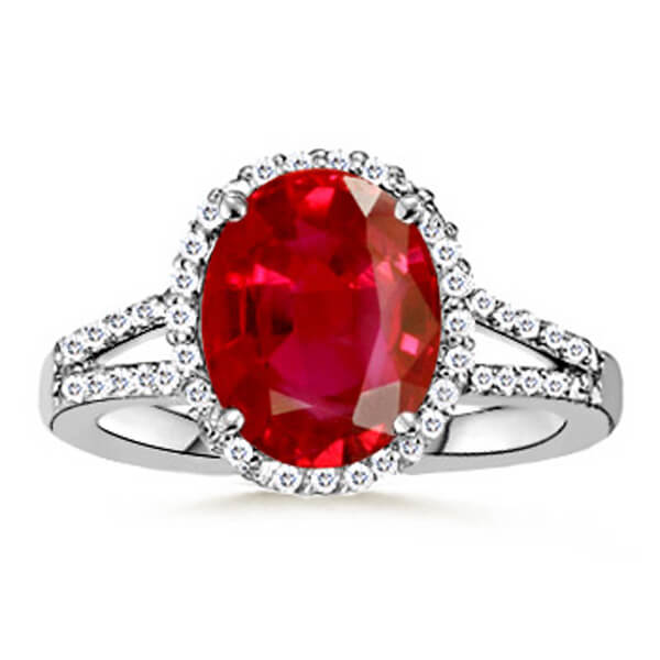 Halo Split Band Natural Ruby Ring - Germani Jewellery