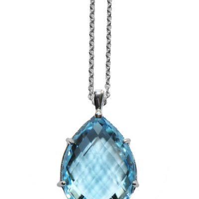 Natural Blue Topaz Teardrop Pendant - Germani Jewellery