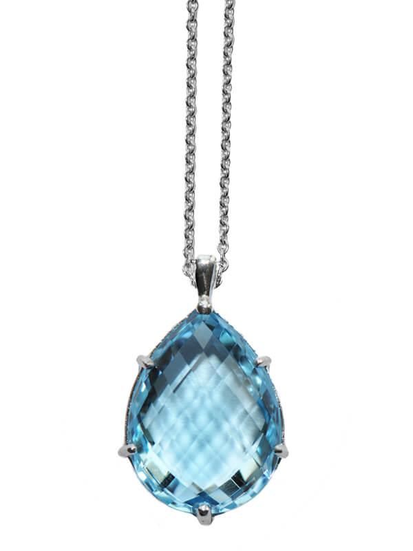 Natural Blue Topaz Teardrop Pendant - Germani Jewellery
