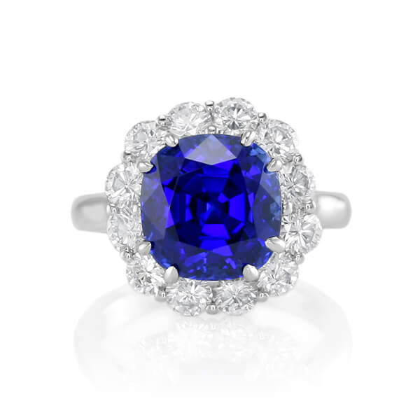Princess Diana Style Cushion Natural Blue Sapphire Ring - Germani Jewellery