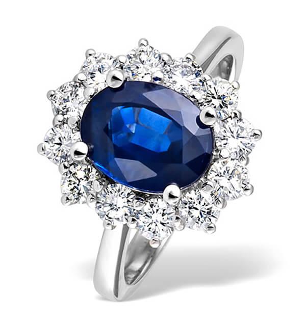 Princess Diana Style Natural Blue Sapphire Diamond Ring - Germani Jewellery