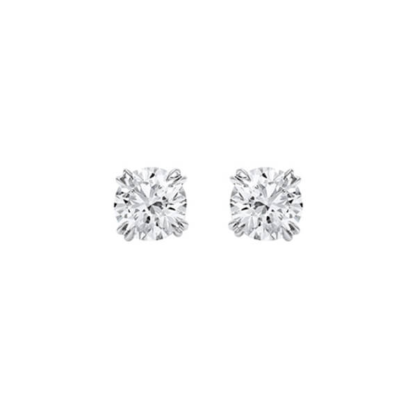 Classic Diamond Stud Earrings with Round Brilliant Cut - Germani Jewellery