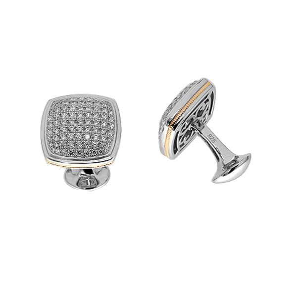 gold edging cufflinks - Germani Jewellery