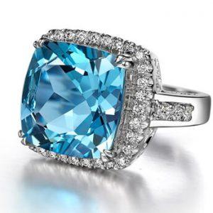 Cushion Cut Blue Topaz Diamond Ring - Germani Jewellery