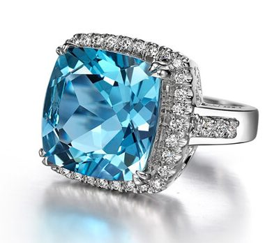 Cushion Cut Blue Topaz Diamond Ring - Germani Jewellery
