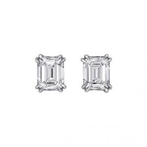 Emerald Cut Diamond Stud Earrings - Germani Jewellery