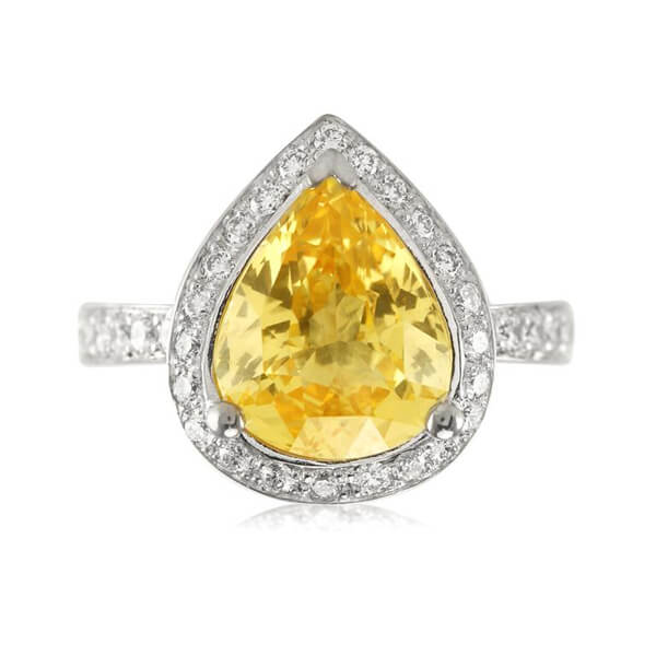 Halo Pear Natural Yellow Sapphire Ring - Germani Jewellery