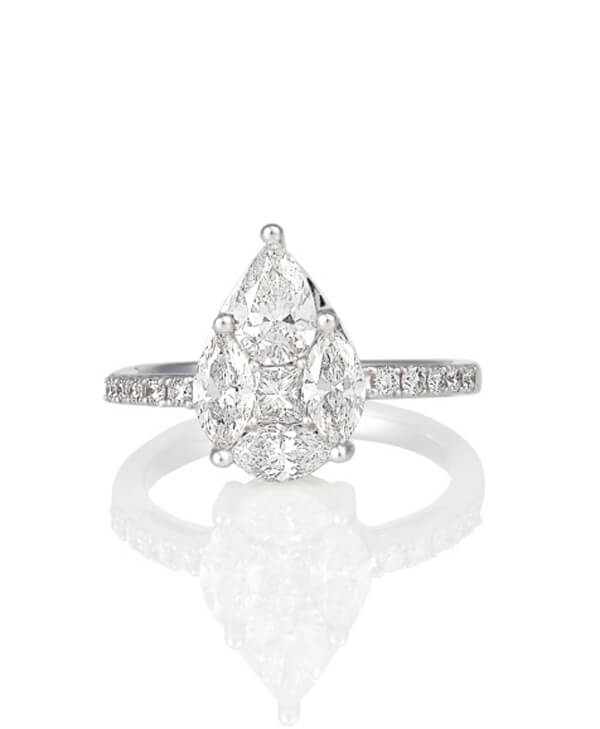 Michel Germani's pear shape custom diamond engagement ring - Germani Jewellery