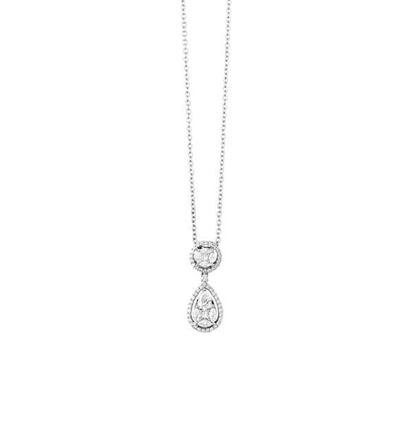 Marquise and Princess Cut Diamonds Drop Pendant - Germani Jewellery
