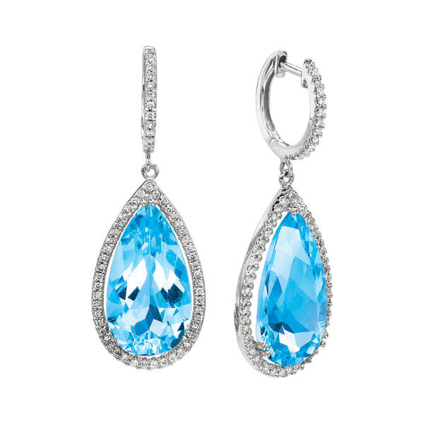 Natural Blue Topaz Teardrop Diamond Earrings - Germani Jewellery