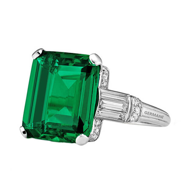 Natural Emerald with Baguettes Ring - Germani Jewellery