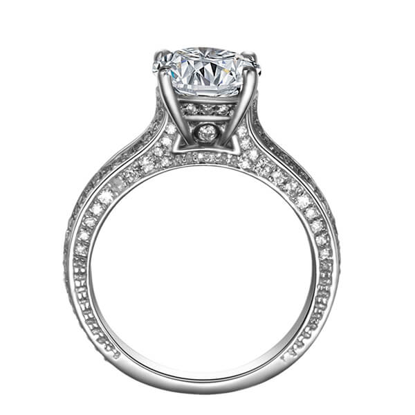 Pave Setting Solitaire Diamond Engagement Ring - Germani Jewellery