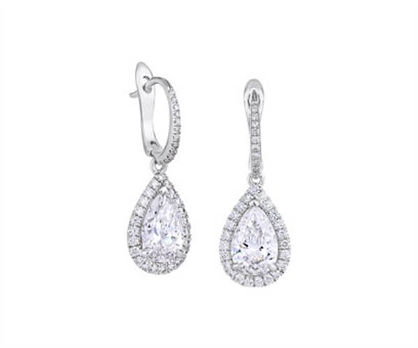 Pear Shape Halo Design Diamond Drop Earrings - Germani Jewellery