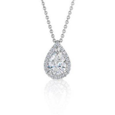 Pear Shape Halo Design Diamond Pendant - Germani Jewellery