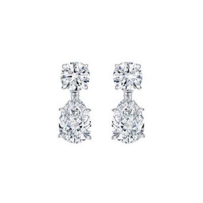 Pear shape diamonds drop earrings - Germani Jewellery