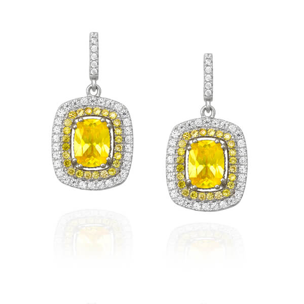 Yellow Diamond Halo Earrings - Germani Jewellery
