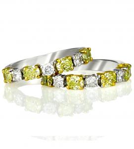 Fancy Yellow White Wedding Band - Germani Jewellery