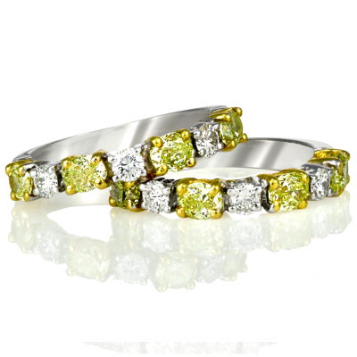 Fancy Yellow White Wedding Band - Germani Jewellery
