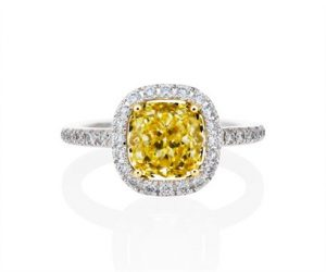 Classic Halo Design Cushion Cut Yellow Diamond Engagement Ring